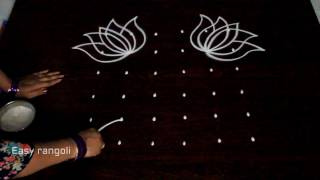 Download easy lotus kolam designs with 6x6 dots || simple muggulu designs || easy rangoli kolam designs Video
