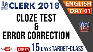 Download Cloze Test & Error Correction | 15 Days Target Class | IBPS Clerk 2018 | English | Day 01 | 1:00 PM Video