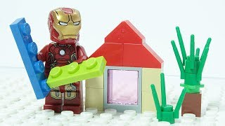 Download LEGO IRON MAN Brick Building Summer House Superheroes Animation for Kids Video