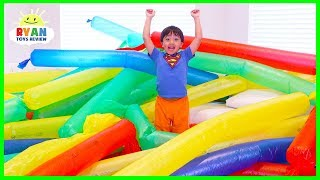 Download Blowing Giant Windbag Science Experiment for kids to do at home with Ryan ToysReview Video