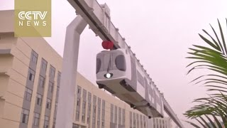 "Download China's first new energy ""sky train"" runs trial operation in Chengdu Video"