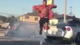 Download YG Almost Hit By Car Blood Walking In Street At Music Video Shoot Video
