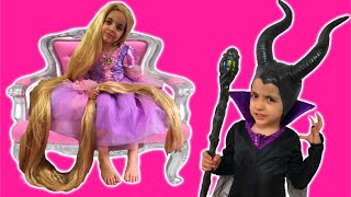 Download Rapunzel Hair Disaster TANGLED BY MALEFICENT Real Life Disney Princess Movie + Jasmine Hairstyle Video