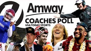 Download Who takes the top spot in the CFB preseason Amway Coaches Poll? Video