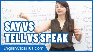 Download SAY, TELL, SPEAK - What is the difference? Confusing English Verbs Video