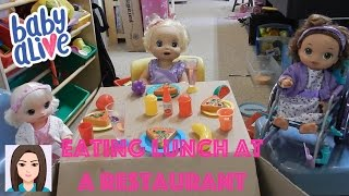 Download Baby Alives Delilah, Faith, and Opal Eat Lunch At A Restaurant Video