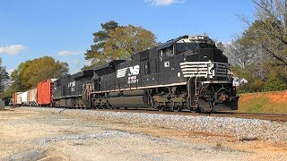 Download NS mixed frieght rolls south in Stockbridge, Ga. Video