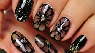 Download Nail Art. Black Nail Design. Black Flowers. Video