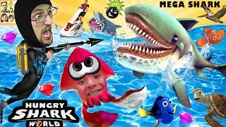 Download HUNGRY SHARK WORLD! MegaMouth Sharks' Eat Everything, Even BOMBS! FGTEEV Attack At Sea! HEHE Video