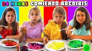 Download 24 HORAS COMIENDO ARCOÍRIS - Mimi Land reto comida rosa, azul, verde por un día! Video