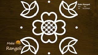 Download Cute Flower and Deepam Kolam with 5x5 dots   Daily Kolam   Diya Rangoli   Make Rangoli Video