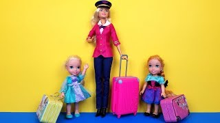 Download AIRPORT ! Elsa and Anna toddlers - vacation - check in - baggage - suitcases - shopping - Barbie Video