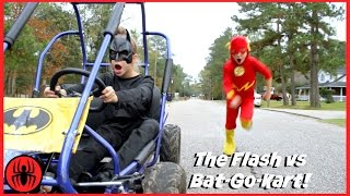 Download The Flash vs Batman GO KART BATTLE Race Car Edition superhero real life movie comic SuperHero Kids Video
