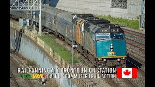 Download 4K - Evening Rush Hour GO and VIA Rail Trains at Toronto Union Station's Western Approach Video
