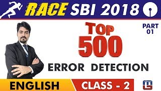 Download SBI Clerk Prelims 2018   Top 500 Error Detection   Part 1   English Live At 9 am   Class-2 Video