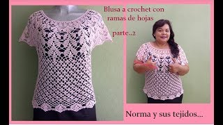 Download Blusa a crochet ramas de hojas parte..2 Video