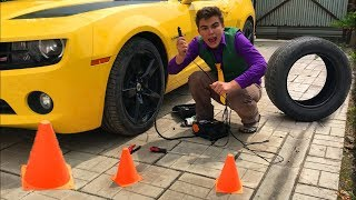 Download Mr. Joe in Tire Service! Punctured Wheel on Chevrolet Camaro & Funny Race for Kids Video