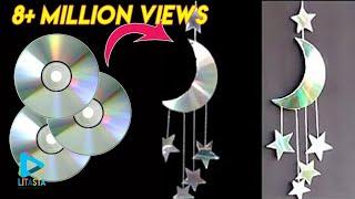 Download Ide kreatif membuat hiasan bulan 🌙 dan bintang ⭐dari CD bekas | DIY ROOM DECOR Video