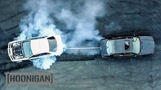 Download [HOONIGAN] DT 040: $350 BMW E36 vs v8 E36 Tug-Of-War Video