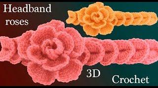Download Diadema a Crochet con flores rosas tejidas 3D en punto tunecino tejido tallermanualperu Video