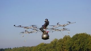 Download World's first manned flight with an electric multicopter Video