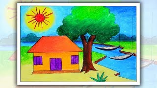 How To Draw Village Scenery Landscape Step By Step Free Download