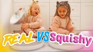 Download ULTIMATE SQUISHY FOOD VS REAL FOOD CHALLENGE! (BESTIES EAT IT!) Video