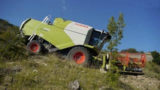 Download MOISSON DE L'EXTRÊME dans les hautes-alpes a 1250 m d'altitude CLAAS TUCANO 340 four wheel drive Video