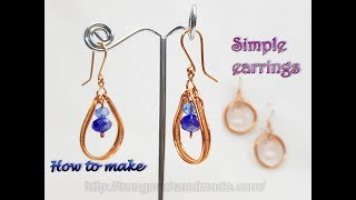 Download Simple earrings with stone have holes - How to make handmade jewelry from copper wire 509 Video