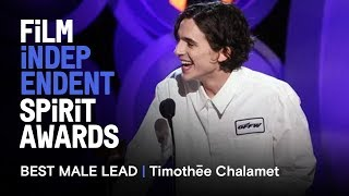 Download TIMOTHÉE CHALAMET wins Best Male Lead at the 2018 Film Independent Spirit Awards Video