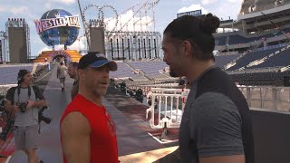 Download Seth Rollins and Roman Reigns prepare for their WrestleMania entrances on WWE 24 (WWE Network) Video