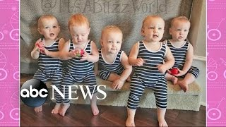 Download America's First All-Female Quintuplets Visit on 'GMA' Video