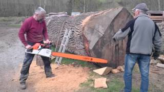 Download Stihl ms 880 150cm vs big oak log Video