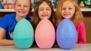 Download HUGE Toy Surprise Eggs Filled with Blind Bags & Toys for Boys & Girls Family Fun Kinder Playtime Video