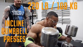 Download 220lb/100kg INCLINE DUMBBELL PRESS X5 Video