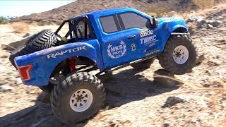 Download KiNG RAPTOR in the DESERT - NEW TRAIL: 1/8 scale FORD F150 BLUE & WHITE TRACTION HOBBY FOUNDER Video