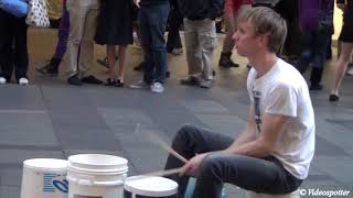 Download Amazing Super Fast Bucket Drumming by Gordo @ Pitt Street Mall Sydney Video
