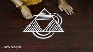 Download beautiful easy rangoli - new kolam freehand designs - new muggulu pattern Video