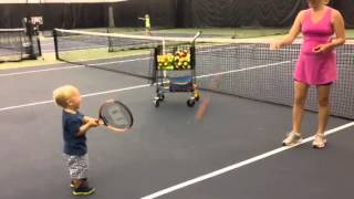 Download 2 year old tennis player hits 12 in a row! Video
