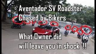 Download Bikers chase Aventador SV Roadster, What owner does will leave you in Shock !! Video