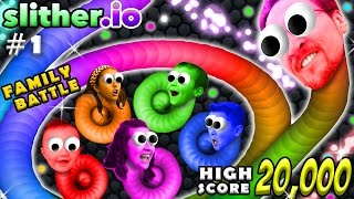 Download SLITHER.IO #1: 6 Player FGTEEV Family Battle! 20k High Score Snake! (Worms Grow Up Fast!) Video