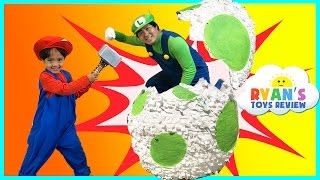 Download YOSHI GIANT EGG SURPRISE TOYS FOR KIDS Mario and Luigi Irl Nintendo Toys Unboxing Ryan ToysReview Video