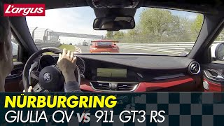 Download New Alfa Giulia Quadrifoglio - Nurburgring battle vs 911 GT3 RS, BMW M3... Video