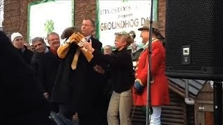 Download NYC Mayor Drops Staten Island Chuck at Groundhog Day Event Video