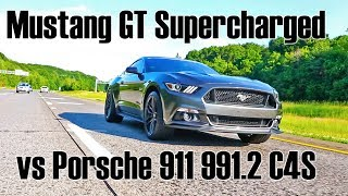 Download Mustang GT with Roush Supercharger kit vs Porsche 911 Carrera 4 S Video