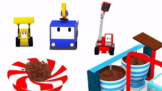 Download The Chocolate Factory - Learn with Tiny Trucks : bulldozer, crane, excavator | Educational cartoon Video