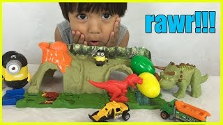 Download DINOSAUR TOYS Matchbox Mission Dino Raiders Jurassic World Surprise Eggs Minions Ryan ToyReview Video