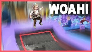 Download 😲Baby gets MAJOR AIR at Trampoline Park! Video