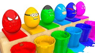 Download Learn COLORS Surprise Eggs for Kids - Spiderman Cars Educational Video - Bus Superheroes for Babies Video