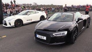 Download Audi R8 V10 Spyder vs Nissan GTR R35 vs Mercedes-AMG GT S Video